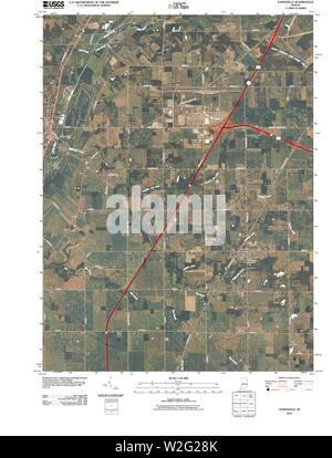 USGS TOPO Map Indiana IN Zanesville 20100610 TM Restoration - Stock Photo