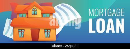 House mortgage concept banner. Cartoon illustration of house mortgage vector concept banner for web design - Stock Photo