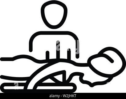 Spa saloon massage icon, outline style - Stock Photo