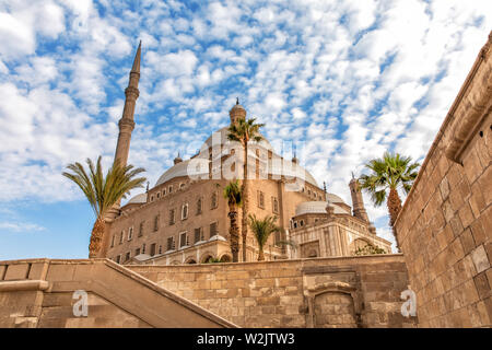 The Great Mosque of Muhammad Ali Pasha, view from the Citadel wall, Cairo, Egypt - Stock Photo
