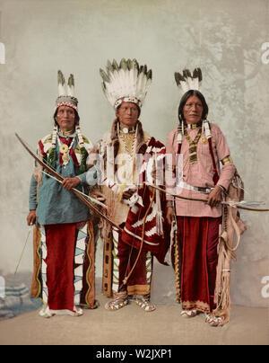 Three Apache Men, Chief James A. Garfield, Pouche Te Foya, and Sanches, Full-Length Portrait, Detroit Photographic Company, 1899 - Stock Photo