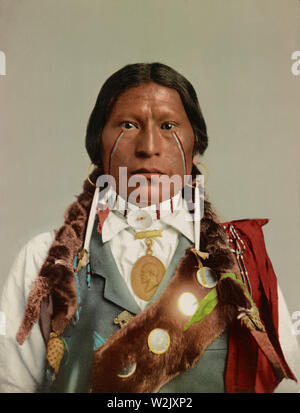 Apache Chief James A. Garfield, Head and Shoulders Portrait, Detroit Photographic Company, 1899 - Stock Photo