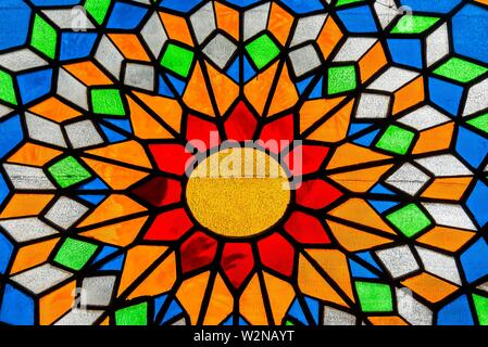 A stained glass window Inside the Mezquita (the Mosque-Cathedral) of Corboba, Cordoba Province, Spain. - Stock Photo