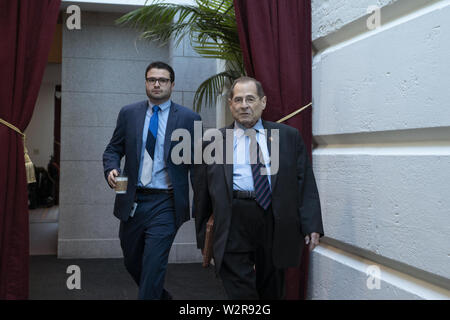 Washington, District of Columbia, USA. 10th July, 2019. United States Representative Jerrold Nadler (Democrat of New York) arrives to the Democratic Caucus meeting on Capitol Hill in Washington, DC, U.S. on July 10, 2019. Credit: Stefani Reynolds/CNP/ZUMA Wire/Alamy Live News - Stock Photo