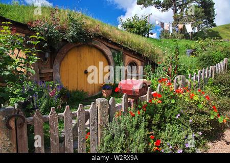 Hobbiton, New Zealand - 15 Dec 2018. Hobbiton is theme Park in New Zealand. - Stock Photo