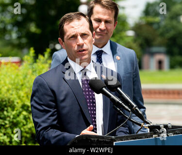 Washington, United States. 10th July, 2019. U.S. Representative Jason Crow (D-CO) speaking in favor of inclusion of House Amendment # 270 to the National Defense Authorization Act (NDAA) aimed at preventing war with Iran, at the Capitol in Washington, DC. Credit: SOPA Images Limited/Alamy Live News - Stock Photo