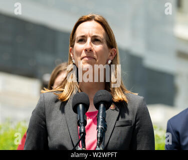 Washington, United States. 10th July, 2019. U.S. Representative Mikie Sherrill (D-NJ) speaking in favor of inclusion of House Amendment # 270 to the National Defense Authorization Act (NDAA) aimed at preventing war with Iran, at the Capitol in Washington, DC. Credit: SOPA Images Limited/Alamy Live News - Stock Photo