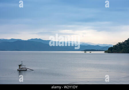 The beauty of the sky and the water at Kaeng Krachan Dam ,Phetchaburi in Thailand. - Stock Photo