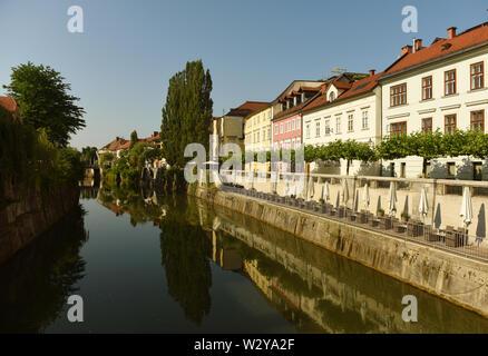 Ljubljanica river and buildings in the center Ljubljana, Slovenia - Stock Photo