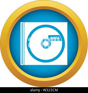 CD with danger lettering icon blue vector isolated - Stock Photo