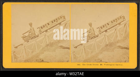 The Great Tresle, Mt Washington Railway, by Kilburn Brothers - Stock Photo