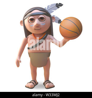 Cartoon native American Indian man playing with a basketball, 3d illustration render - Stock Photo