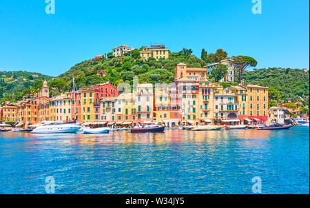 Panorama of Portofino -  luxury resort on the Italian riviera in Liguria, Italy - Stock Photo