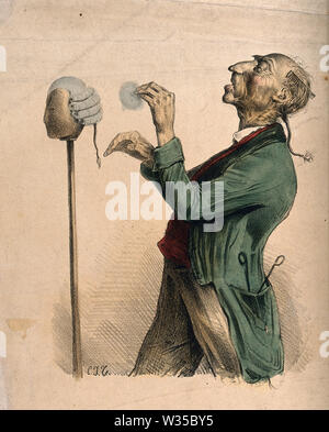 A barber powdering a wig on a stand. Coloured lithograph by C.J. Travies de Villers. - Stock Photo