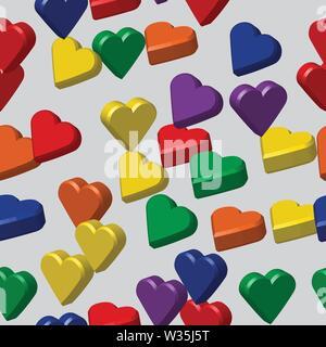 Rainbow Colors Hearts Seamless Pattern, 3D Illustration - Stock Photo