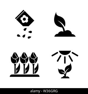 Flowers Growing. Simple Related Vector Icons Set for Video, Mobile Apps, Web Sites, Print Projects and Your Design. Black Flat Illustration on White B - Stock Photo