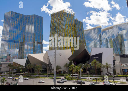 Las Vegas, Nevada, United States: May 21, 2019: Las Vegas Strip, casino and hotels city view with modern architecture and luxury stores - Stock Photo