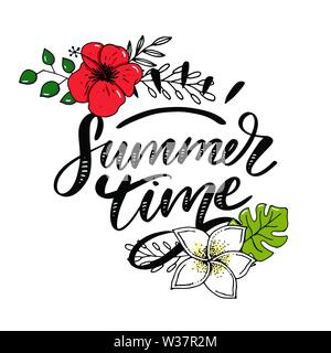 Vector word sale .Letters made of flowers and leaves Summer Time Holiday Flyer Banner Poster Summer - Stock Photo