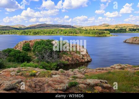 Quannah Parker Lake in the Wichita Mountains of near Cache, Oklahoma, USA - Stock Photo