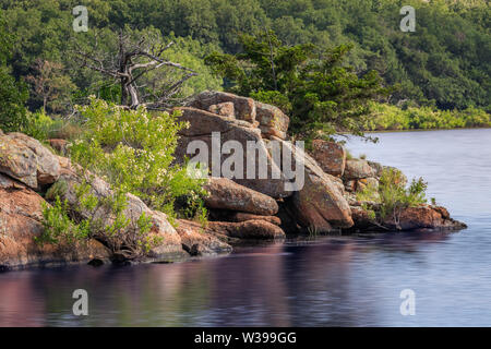 Quannah Parker Lake in the Wichita Mountains of near Cache, Oklahoma, USA - Stock Photo
