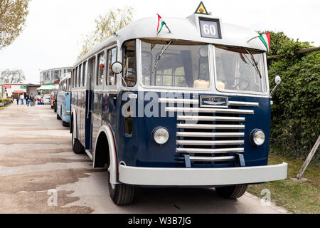 BUDAPEST, HUNGARY - April 05, 2019: Vintage classic Ikarus buses on display at an oldtomer automobile show. Front view. - Stock Photo