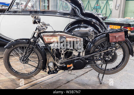 BUDAPEST, HUNGARY - April 05, 2019: A rare classic 1926 James motorcycle at an oldtimer motor show. - Stock Photo
