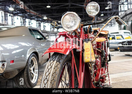 BUDAPEST, HUNGARY - April 05, 2019: A rare classic oldtimer Indian motorcycle on display at a motor show. - Stock Photo