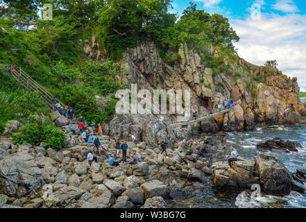 Gudhjem, Denmark. 07th July, 2019. Many tourists climb over the rocks of the Helligdom Clipperne on the north coast of the Danish Baltic Sea island Bornholm. The island Bornholm is, together with the offshore archipelago Ertholmene, Denmark's most eastern island. Thanks to its location, the island of Bornholm counts many hours of sunshine. Credit: Patrick Pleul/dpa-Zentralbild/ZB/dpa/Alamy Live News - Stock Photo
