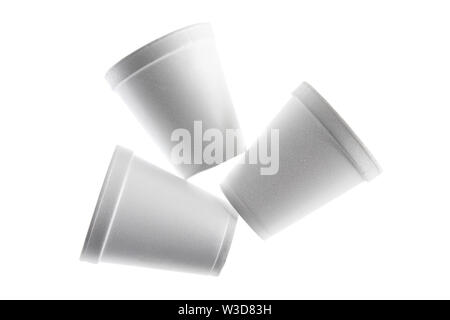 Styrofoam Cups on White Background - Stock Photo