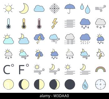 Weather line icon set, filling with pastel colors  - sun, moon phase, cloud, rain, snow, rainbow, thunder - Stock Photo