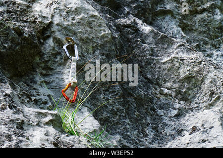 Quickdraw with silver and orange carabiners hanging from a bolt, near a strand of green grass, on a climbing route in Trascau moutnains (part of Carpa - Stock Photo