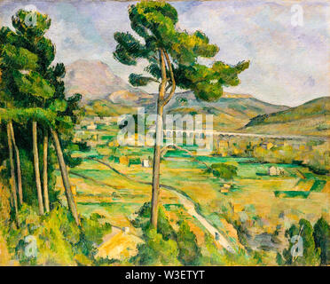 Paul Cézanne, Mont Sainte-Victoire and the Viaduct of the Arc River Valley, landscape painting, 1882-1885 - Stock Photo