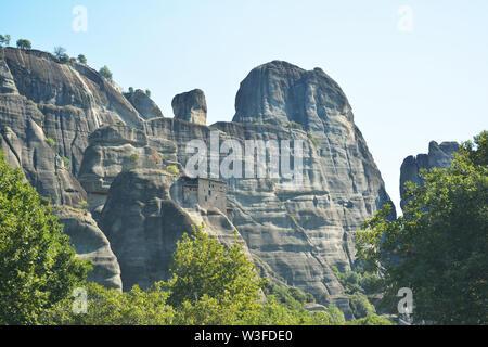Holy Monastery of Saint Nicholas of Anapafsas at Meteora in Kalambaka, Greece - Stock Photo