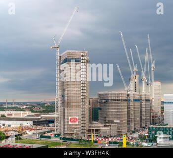 8th July 2019 - London, UK. Wembley Park regeneration -  residential housing development and construction. - Stock Photo