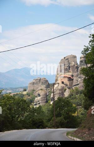 The Holy Monastery of Saint Nicholas of Anapafsas at Meteora ,Greece - Stock Photo