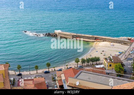 Aerial view of beach in Pizzo town, Calabria, Italy - Stock Photo
