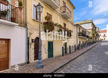 View of residential buildings at the picturesque alley in Pizzo town, Calabria, Italy - Stock Photo