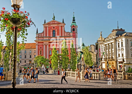 Ljubljana city centre, capital of Slovenia. - Stock Photo