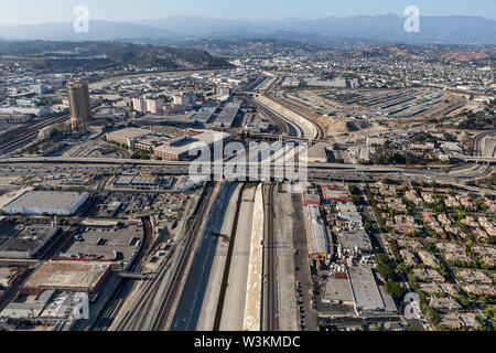 Aerial view of the Los Angeles river and 101 Freeway near downtown LA in Southern California. - Stock Photo