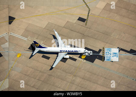 ,Aerial photograph of Cologne/Bonn airport 'Konrad Adenauer', with RyanAir aircraft on the apron at a parking position, parking marking, international - Stock Photo