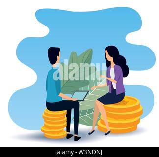 businesswoman and businessman teamwork sitting in the chair - Stock Photo