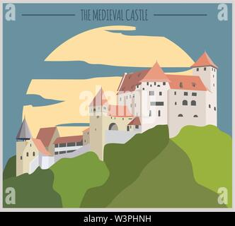 City buildings graphic template. Liechtenstein. Vector illustration - Stock Photo