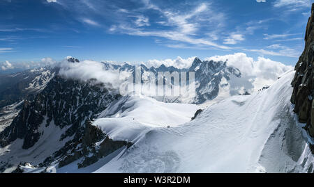 Panorama view of the Alps at summer seen from Aiguille Du Midi in Chamonix, France - Stock Photo