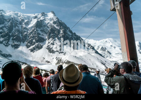 Chamonix, France - 18/06/2019: People waiting for a gondola up to Aiguille Du Midi in Plan de l'Aiguille middle station - Stock Photo