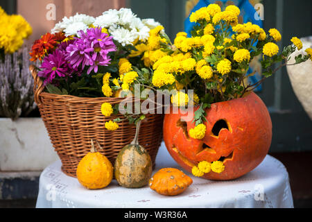 Autumn decoration with pumpkins and flowers on a street in a European city. Harvest of pumpkin. - Stock Photo