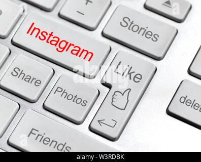 Instagram social media online community  keyboard - Stock Photo