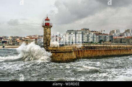 Foz do Douro lighthouse, Oporto, Portugal - Stock Photo