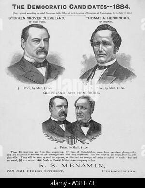 The Democratic candidates--- 1884, Stephen Grover Cleveland of New York, Thomas A. Hendricks of Indiana, from Engravings by Rea, Published by R.S. Menamin, Philadelphia, 1884 - Stock Photo