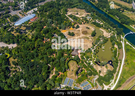 Aerial view of the Zoo Gelsenkirchen ZOOM Experience world with Africa, Asia and Alaska areas, playgrounds, boat tours and restaurants in Gelsenkirche - Stock Photo