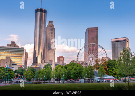 Sunset in Atlanta at Centennial Olympic Park - Stock Photo